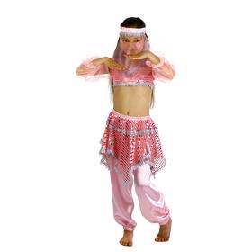 """Карнавальный костюм """"Ясмин"""", повязка, топ с рукавами, штаны, цвет розовый, р-р 32, рост 122-128 см"""