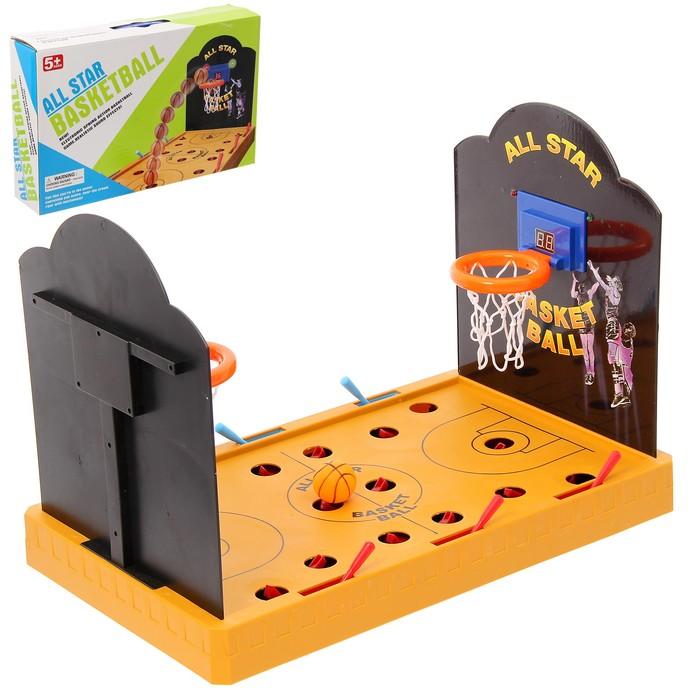 """Настольный баскетбол """"Высшая лига"""", с элекронным подсчетом очков, 2 игрока, световые и звуковые эффекты, работает от батареек"""
