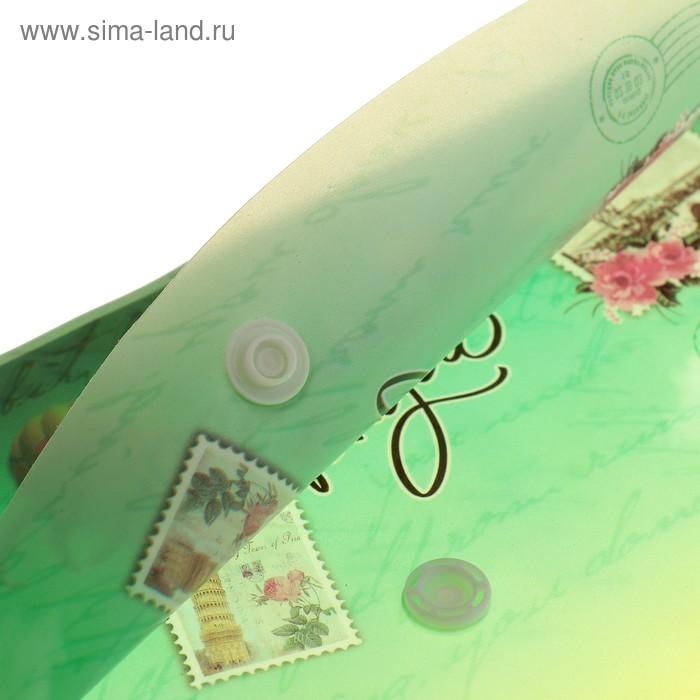 Папка-конверт на кнопке формат А4 140мкр МИКС Города