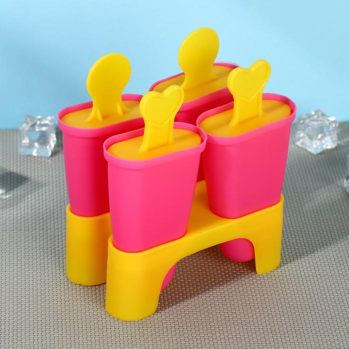 """Форма для мороженого """"Кьют"""", 4 ячейки, цвета МИКС"""