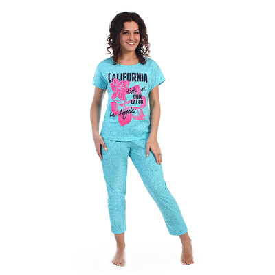Комплект женский (футболка, бриджи) Калифорния цвет голубой, р-р 56