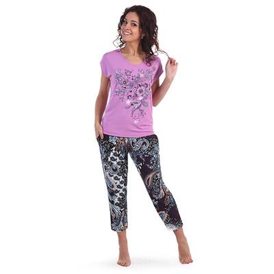 Комплект женский (футболка, бриджи) Рафаэлло цвет фиолетовый, р-р 44 вискоза