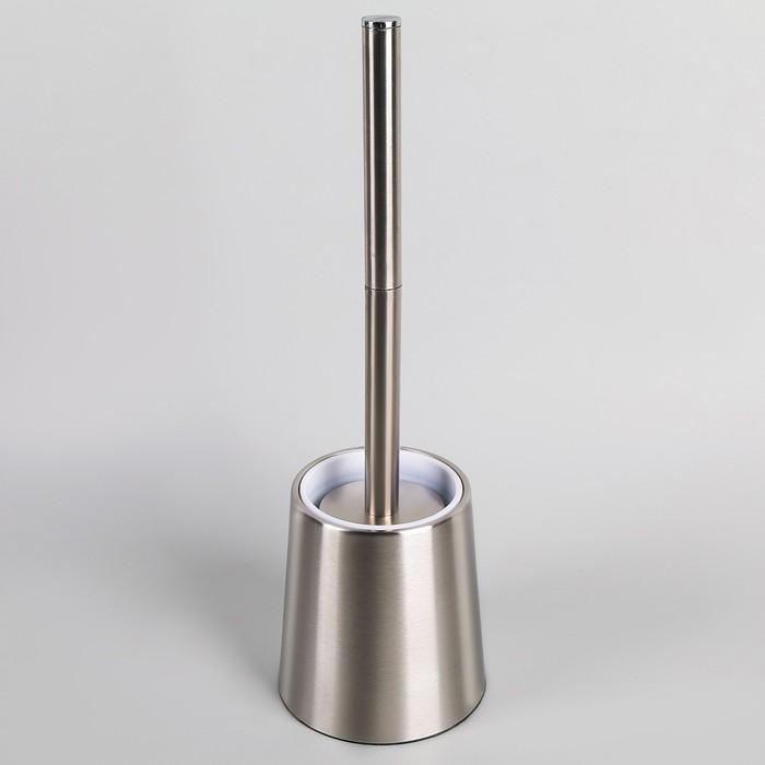 Ёрш для унитаза с подставкой Accoona, 12×12×38,5 см, нержавеющая сталь - фото 308312499
