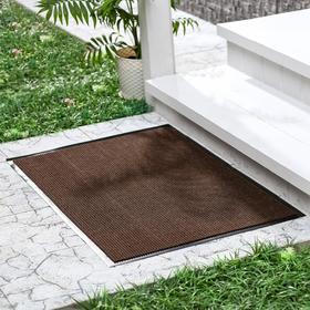 Коврик придверный влаговпитывающий, ребристый, «Комфорт», 50×80 см, цвет коричневый