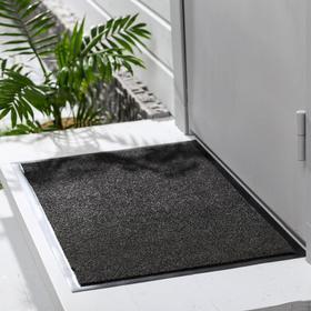 Коврик придверный влаговпитывающий, ребристый, «Комфорт», 60×90 см, цвет чёрный