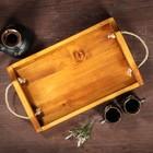 """Поднос деревянный """"Для завтрака"""", массив сосны, 40 х 25 см"""
