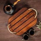 """Поднос деревянный """"Кофейный"""", обжиг с брашированием, массив сосны, 30 х 20 см"""