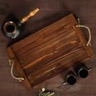 """Поднос деревянный """"Элегия"""", обжиг с брашированием, массив сосны, 43 х 24 см"""