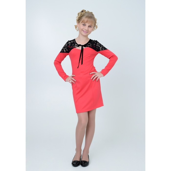 Платье нарядное  детское, рост 152 см, цвет арбуз 2Т44-1