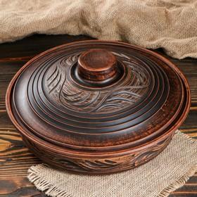 Сковорода с крышкой, 27,5 см, красная глина