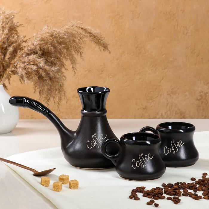 """Кофейный набор """"Coffee"""", 3 предмета, чёрный, матовый, керамика, 0.65/0.2 л"""