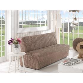 Чехол для двухместного дивана Karna, без подлокотников, без юбки, цвет кофейный