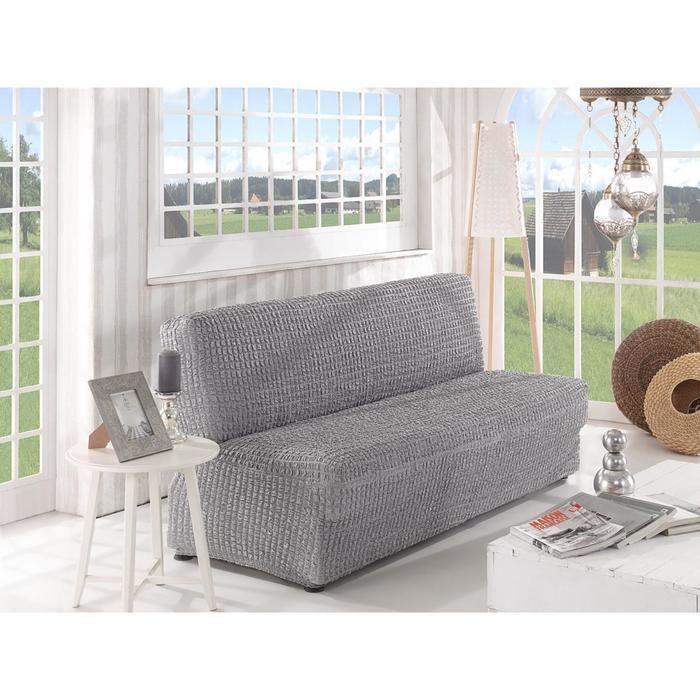 Чехол для двухместного дивана Karna, без подлокотников, без юбки, цвет серый 2649