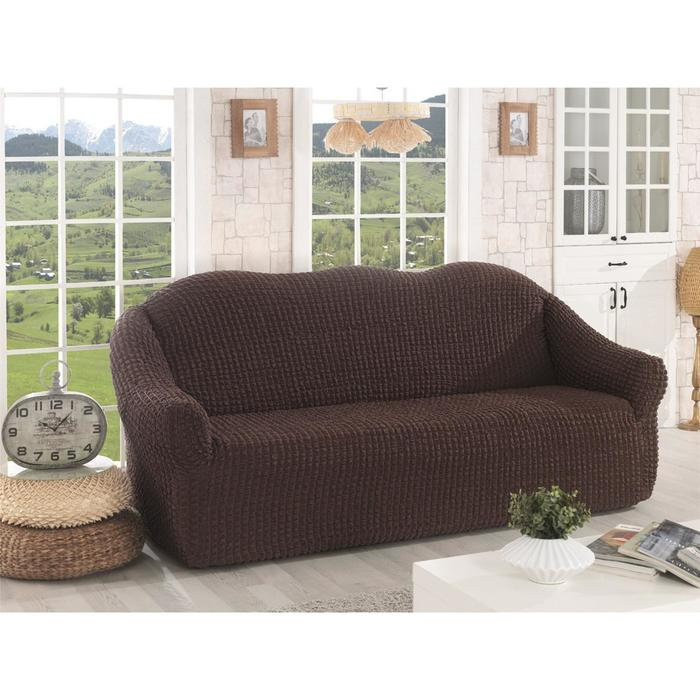 Чехол для трёхместного дивана Karna, без юбки, цвет коричневый 2652