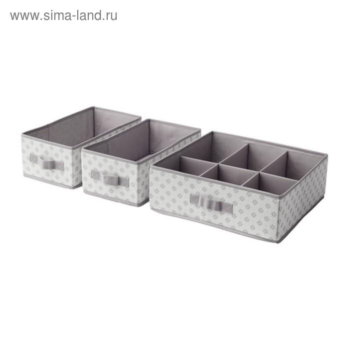 Набор коробок, 3шт, серый/белый цветы СВИРА