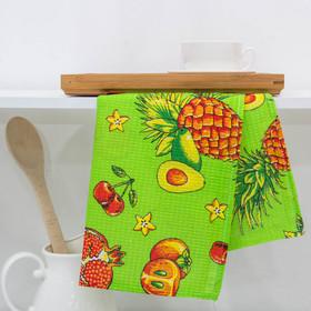 Полотенце вафельное набивное 'Ананас', 40х70 см, зелёный, 160 гр/м2, 100% хлопок Ош