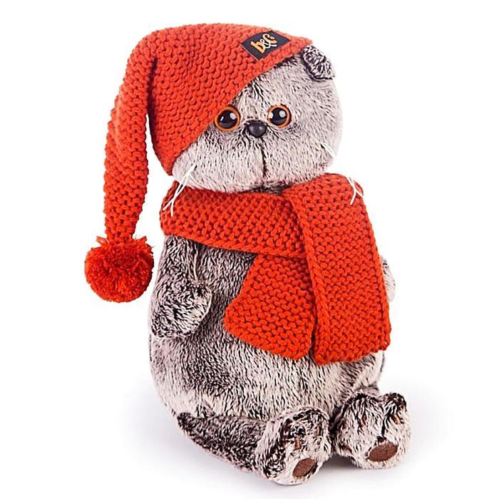 Мягкая игрушка «Басик», в вязаной шапке и шарфе, 30 см - фото 4468434