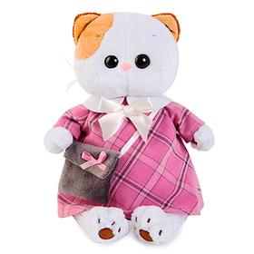 Мягкая игрушка «Кошечка Ли-Ли», в розовом платье с серой сумочкой, 27 см