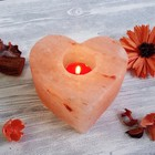 """Подсвечник со свечой """"Сердце"""" красная соль Пакистан 7х13х13 см"""