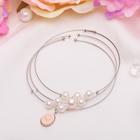 """Браслет ассорти """"Невесомость"""" бусины, (набор 3 штуки), цвет бело-розовый в серебре"""