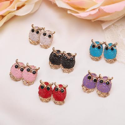 "Earrings enamel ""Owl"" mini, MIX color"