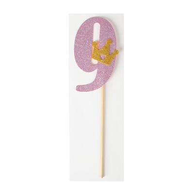Топпер «9», с короной, розовый цвет