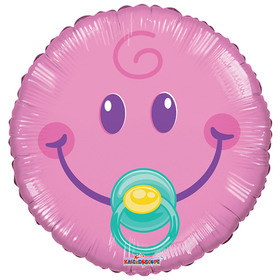Шар фольгированный 9' 'Смайл розовый Малышка' Ош