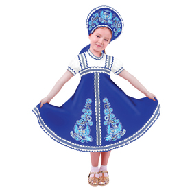 """Карнавальный русский костюм """"Птица Феникс"""", платье-сарафан, кокошник, цвет синий, р-р 28, рост 98-104 см"""