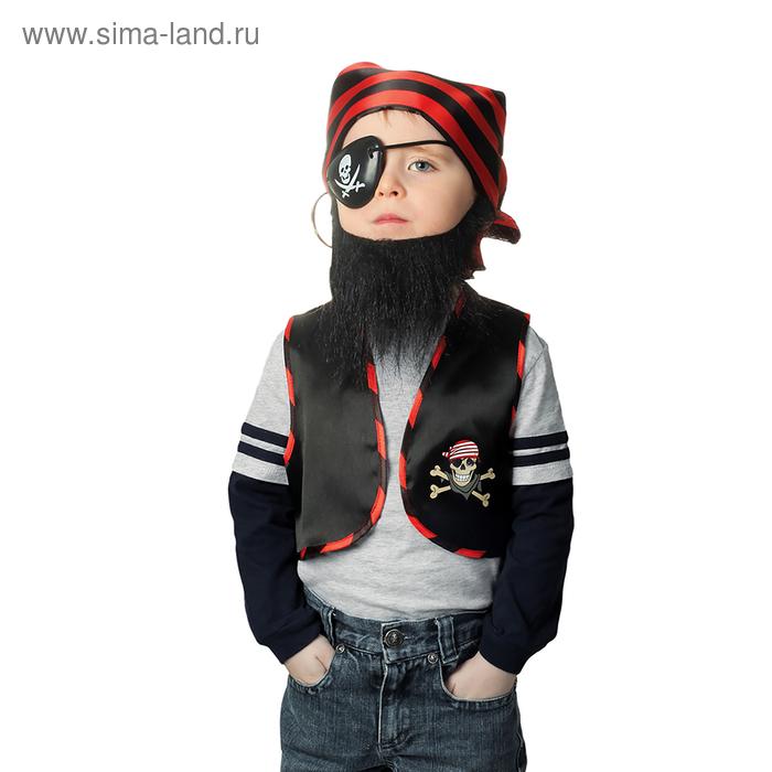 """Набор пирата """"Чёрная борода"""", жилет, бандана, борода, наглазник, клипса, рост 98-110 см, 3-5 лет"""
