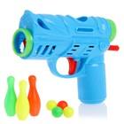 """Gun """"Fun bowling"""", with pins, shoots balls, MIX colors"""