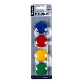 Магниты для досок 40 мм, 4 штуки, GLOBUS цветные, в блистере