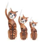 """Сувенир """"Кошки с длинными хвостами"""" набор, дерево 25,30,35 см"""