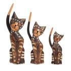 """Сувенир """"Кошки тёмные с  длинными хвостами"""" набор, дерево 21,30,35 см"""