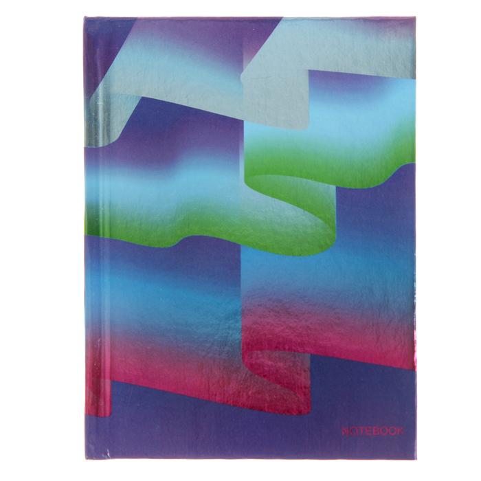 """Бизнес-блокнот А6, 80 листов """"Графика. Неоновые волны"""" твердая обложка, печать по металлизированной плёнке """"Серебро"""""""