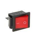 Выключатель клавишный REXANT RWB-502, 250 В, 16 А (4с), ON-OFF, красный, с подсветкой