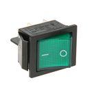 Выключатель клавишный REXANT RWB-502, 250 В, 16А (4с), ON-OFF, зеленый, с подсветкой