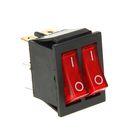 Выключатель клавишный REXANT RWB-511, двойной, 250 В, 15А (6с), ON-OFF, красный, с подсветко