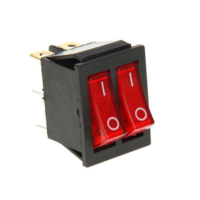 Выключатель клавишный REXANT RWB-511, двойной, 250 В, 15А (6с), ON-OFF, красный, с подсветк.