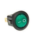 Выключатель клавишный REXANT RWB-214, круглый, 250В, 6А (3с), ON-OFF, зеленый, с подсветкой