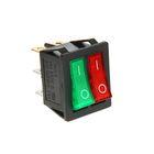 Выключатель клавишный REXANT RWB-511, 250 В, 15А (6с), ON-OFF, красный/зеленый, с подсветкой   26095