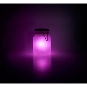 Светящаяся банка на солнечной батарее, розовая