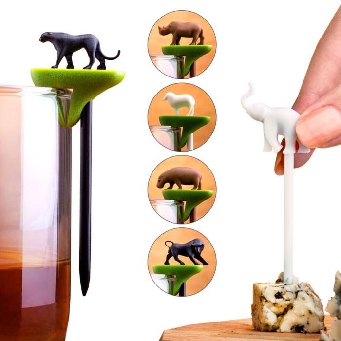Набор шпажек-маркеров для бокалов Hot Animal - фото 995879