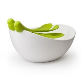 Салатница с ложками Sparrow, с зелёными ложками