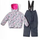 Комплект зимний для девочки (куртка, брюки), рост98см, цвет  серый MW27107