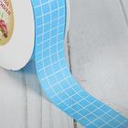 Лента репсовая «Клетка», 25 мм, 22 ± 1 м, цвет голубой