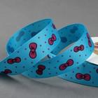 """Лента репсовая """"Бантики"""", 25мм, 22±1м, цвет голубой"""