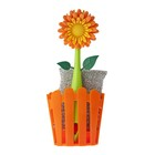 Щётка для посуды + губка на подставке Flower power, цвет МИКС