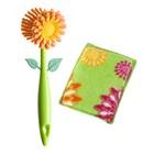 Щётка для посуды + губка Flower power, цвет МИКС