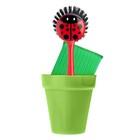 Щётка для посуды + губка на подставке Ladybug