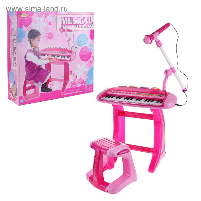 """Синтезатор """"Музыкальная радость"""", со стульчиком, работает от батареек"""